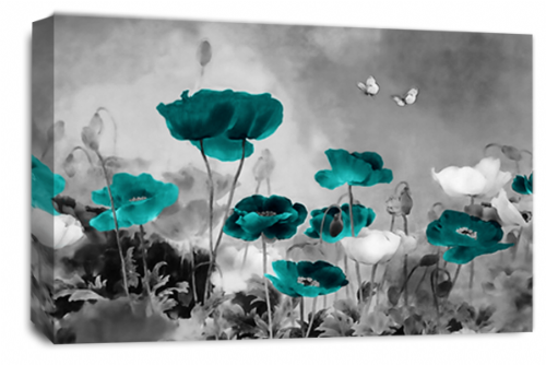 CHINESE FLORAL FLOWER TEAL GREY PICTURE 30 x 20